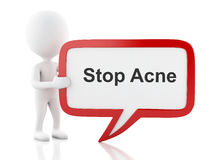 3d White people with speech bubble that says Stop Acne. 3d renderer image. White people with speech bubble that says Stop Acne. Isolated white background stock illustration