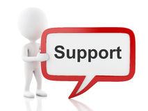 3d White people with speech bubble that says Support. Stock Image