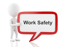 3d White people with speech bubble that says Work Safety. Stock Photo