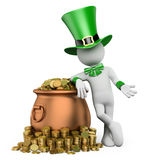 3D white people. St patricks day. Leprechaun with pot with gold Stock Images
