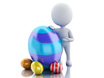 3d white people standing next to an Easter egg. 3d renderer image. White people standing next to a Easter egg. Isolated white background Stock Images