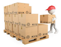 3D white people. Stock boy stacking boxes. On a pallet. Storekeeper. White background Stock Photography