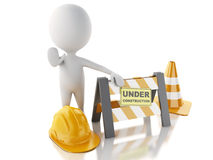 3d white people stop sign with traffic cones. Under construction Royalty Free Stock Image