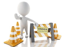 3d white people stop sign with traffic cones. Under construction. 3d renderer imagen. White people stop sign with traffic cones.  Under construction concept Stock Photo