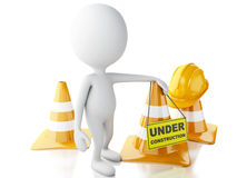 3d white people stop sign with traffic cones. Under construction Stock Photography
