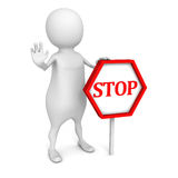 3d white people with STOP sign on white background. 3d render illustration Stock Image