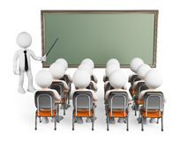 3D white people. Students in class. With teacher and blank chalkboard. White background Royalty Free Stock Images