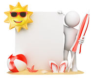 3D white people. Summer background with blank paper Stock Photos