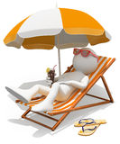 3D white people. Sunbathing on a lounger. 3d white person sunbathing on a lounger with a refreshing drink. White background Stock Image