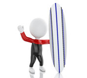 3d White people with surfboard and wearing equipment. Stock Photography