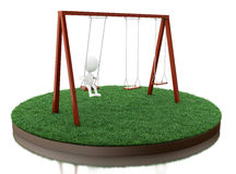 3D White people on the swing. Stock Images