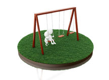 3D White people on the swing. Stock Photos