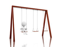 3D White people on the swing. Stock Photo