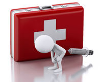 3D White people with a syringe and first aid kit. 3D Illustration. White people with a syringe and first aid kit. Medicine concept.  white background Stock Photos