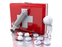 3D White people with a syringe, first aid kit and pills Royalty Free Stock Photography