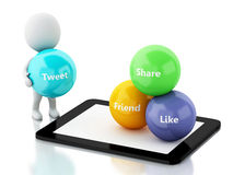 3d White people with tablet pc and social media bubbles Stock Images