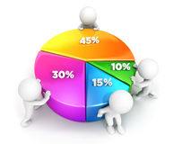 3d white people team pie chart. White background, 3d image Royalty Free Stock Photo