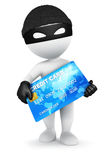 3d white people thief with a credit card. White background, 3d image Stock Photo