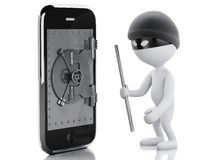 3d white people thief. Smartphone with safe door. Stock Photo