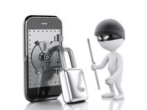 3d white people thief. Smartphone with safe door. Stock Photos