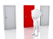 3d white people and three doors, doubtful. Choice concept Royalty Free Stock Photo