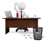 3D white people. Tossing crumbled Paper ball at trash can. 3d white business person tossing crumbled Paper ball at trash can in the office. White background Royalty Free Stock Photos