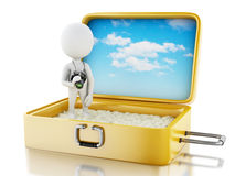 3d white people tourist with camera in a travel suitcase. Stock Images