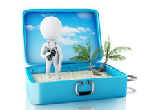 3d white people tourist with camera in a travel suitcase. Stock Photography