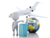 3d white people tourist with suitcases and a airplane. Travel co Stock Images