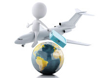3d white people tourist with suitcases and a airplane. Travel co Stock Image