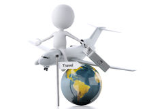 3d white people tourist with suitcases and a airplane. Travel co Stock Photo