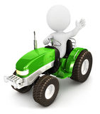 3d white people tractor Royalty Free Stock Photo