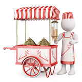 3D white people. Traditional ice cream cart Stock Image