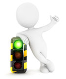 3d white people traffic light on green Royalty Free Stock Photography