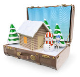 3D white people. Travel Destinations. Snow winter holidays. In a wooden house. White background vector illustration