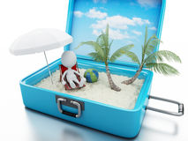 3d white people in a travel suitcase. beach vacation Stock Photos