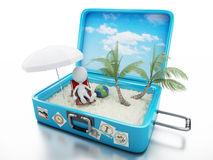 3d white people in a travel suitcase. beach vacation Royalty Free Stock Photography