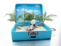 3d white people in a travel suitcase. beach vacation Royalty Free Stock Photos