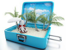3d white people in a travel suitcase. beach vacation Royalty Free Stock Images