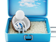3d white people in a travel suitcase. Beach vacation Stock Photography