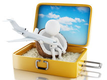3d white people in a travel suitcase. Beach vacation Stock Images