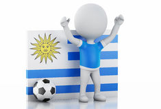 3d white people with Uruguay flag and soccer ball. Stock Photos