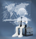 3D white people. Virtual global world business. 3d white people. Businessman with a virtual global world interface Stock Photos