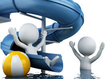 3d white people on water slide. Summer holiday concept Stock Photo