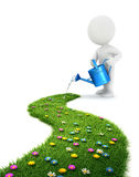 3d white people is watering a grass path. White background, 3d image Royalty Free Stock Photos