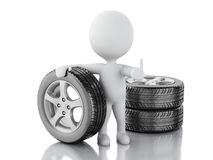 3d white people with wheel car Royalty Free Stock Photo