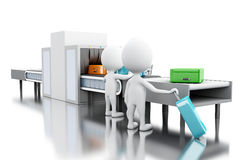 3d White people whit custom scanner at the airport. 3d render illustration. White people whit custom scanner at the airport. Security concept. Isolated white Royalty Free Stock Images