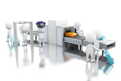 3d White people whit custom scanner at the airport. 3d render illustration. White people whit custom scanner at the airport. Security concept. Isolated white Stock Image