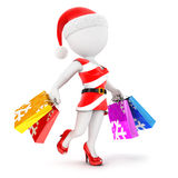 3d white people woman christmas shopping Royalty Free Stock Images