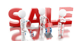 3D White people with word SALE. Stock Image